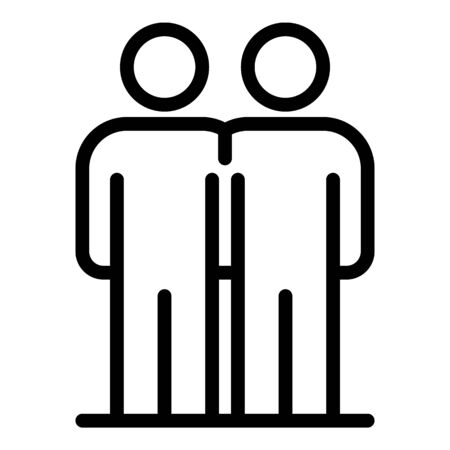 Social friendship icon, outline style