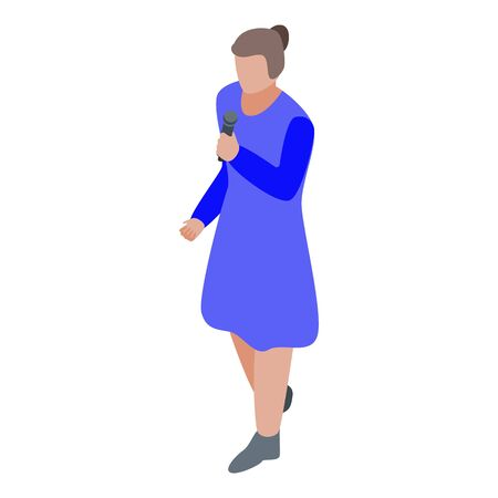 Girl speaking microphone icon, isometric style