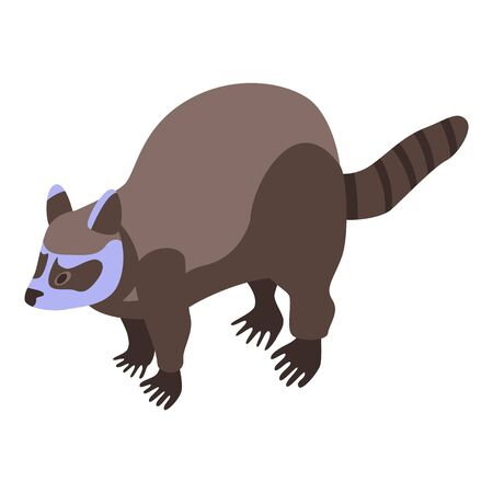 Brown raccoon icon, isometric style
