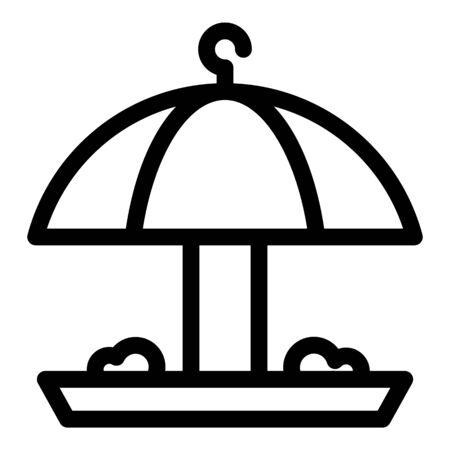 Umbrella bird feeder icon. Outline umbrella bird feeder vector icon for web design isolated on white background Vectores