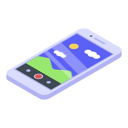 Camera smartphone icon. Isometric of camera smartphone vector icon for web design isolated on white background  イラスト・ベクター素材
