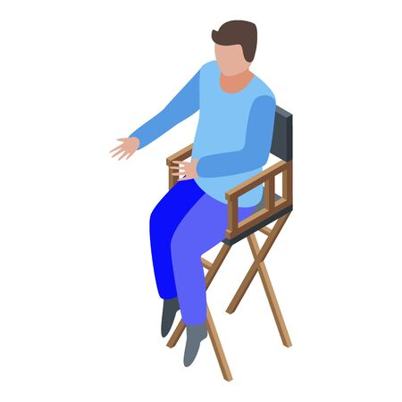 Art director in chair icon. Isometric of art director in chair vector icon for web design isolated on white background