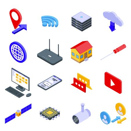 Remote access icons set. Isometric set of remote access vector icons for web design isolated on white background Illustration