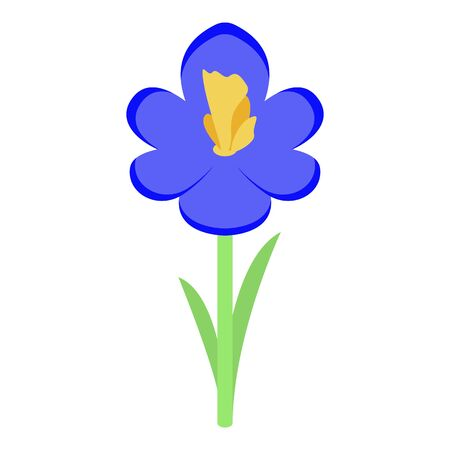 Blue flower icon. Isometric of blue flower vector icon for web design isolated on white background Vettoriali