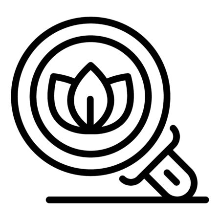Eco plant under magnifier icon, outline style