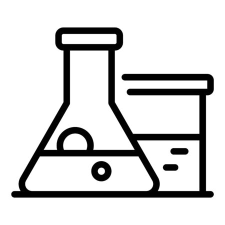 Chemical flask icon, outline style