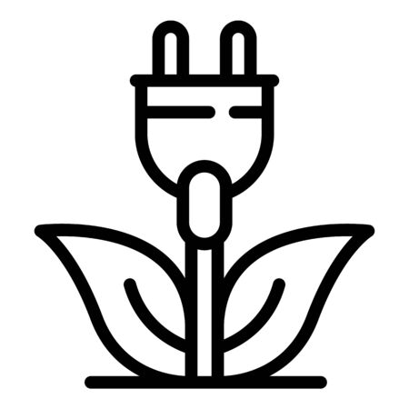 Eco plug icon, outline style