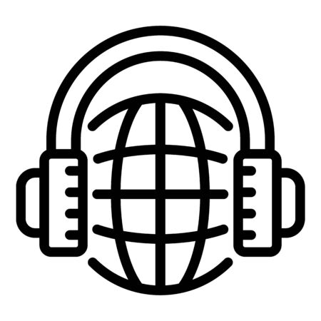 Headphones global language icon, outline style