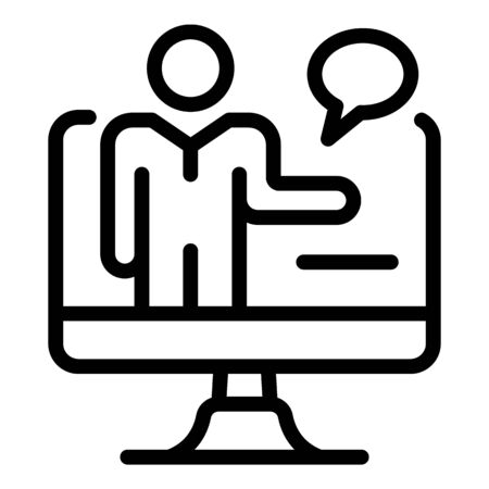Online lesson teacher icon, outline style