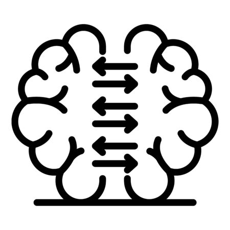 Brain foreign language study icon, outline style