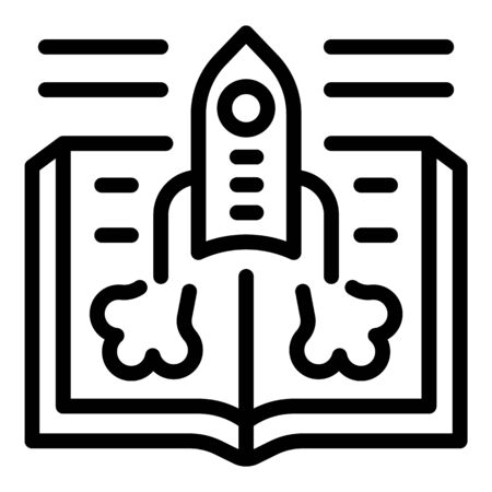 Foreign language rocket study icon, outline style