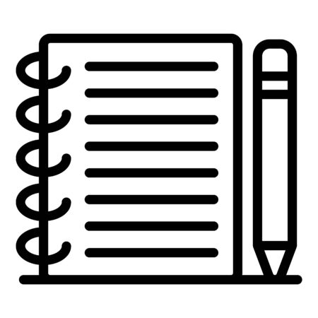 School notebook pencil icon, outline style