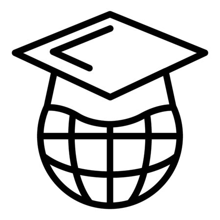 Global learning language icon, outline style