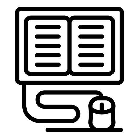 Online language learning icon, outline style Ilustrace