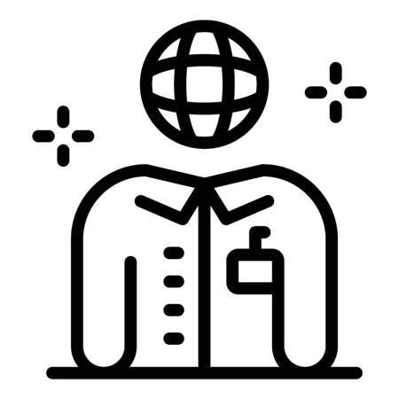 Global foreign language teacher icon, outline style Ilustrace