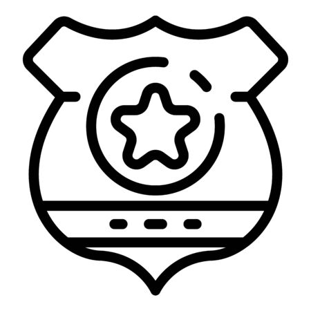 Police badge icon, outline style