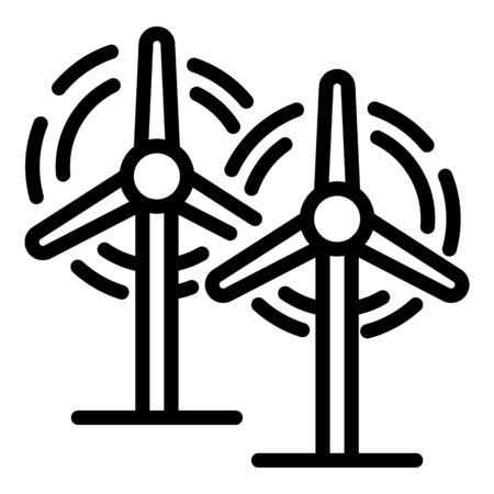 Wind power plant icon, outline style