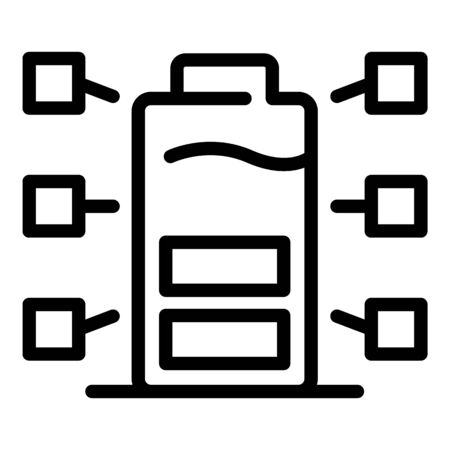 Eco battery icon, outline style Иллюстрация