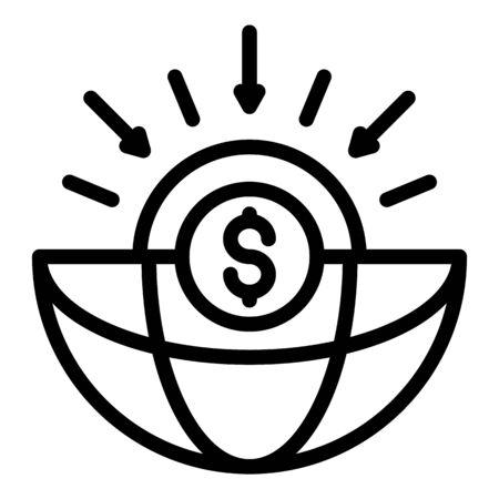 Global money estimate icon, outline style Ilustrace