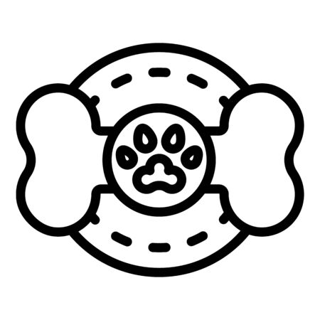 Dog bone emblem icon, outline style Vectores