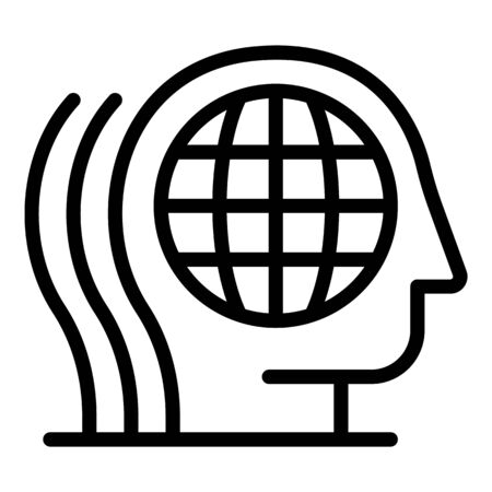 Global earth thinking icon, outline style Иллюстрация