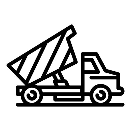Construction tipper icon, outline style Иллюстрация