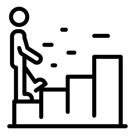 Walking process graph icon, outline style