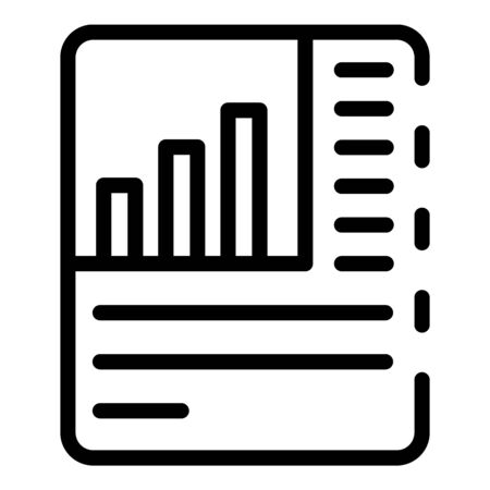 Paper analytics data icon, outline style