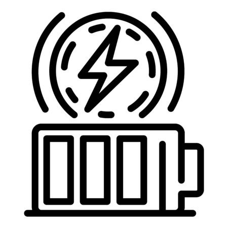 Full battery energy icon, outline style