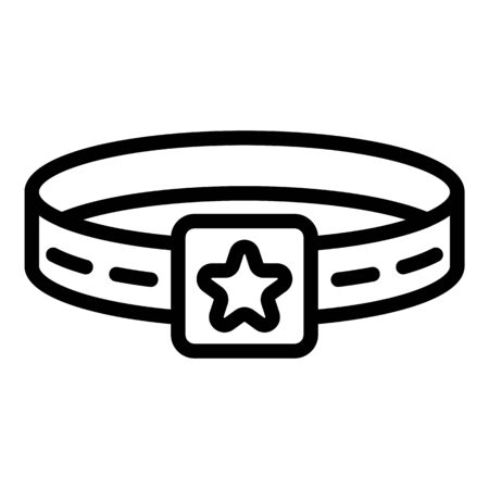 Star dog belt icon, outline style