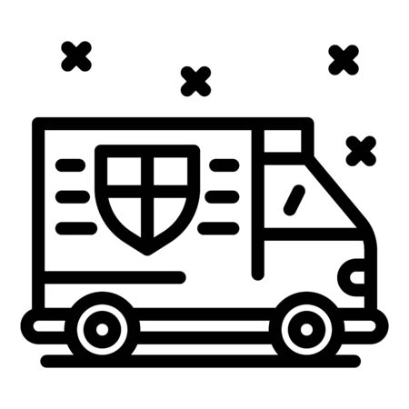 Personal guard truck icon, outline style Illustration