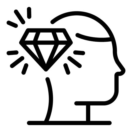 Diamond personal guard icon, outline style