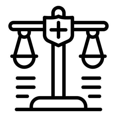 Police judge balance icon, outline style