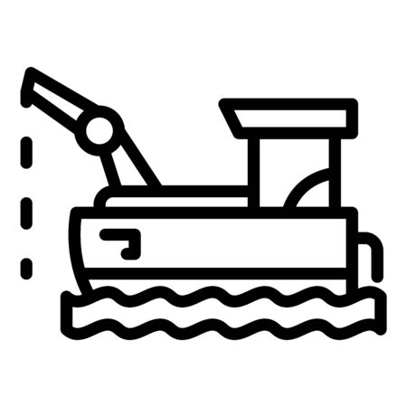 Floating fish farm icon, outline style 向量圖像