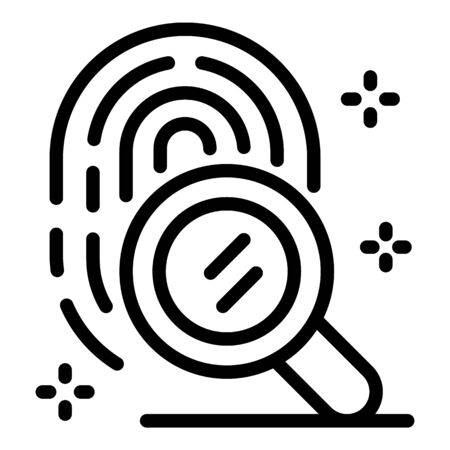 Search fingerprint icon, outline style Çizim
