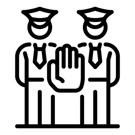 Stop police guard icon, outline style