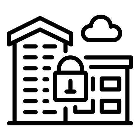 Secured office building icon, outline style