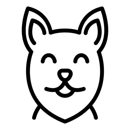 Happy dog face icon, outline style Illustration