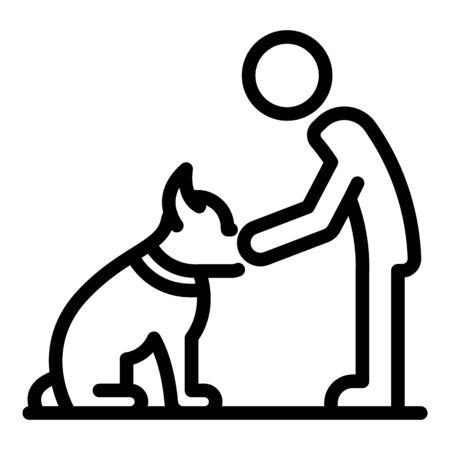 Kid dog training icon, outline style