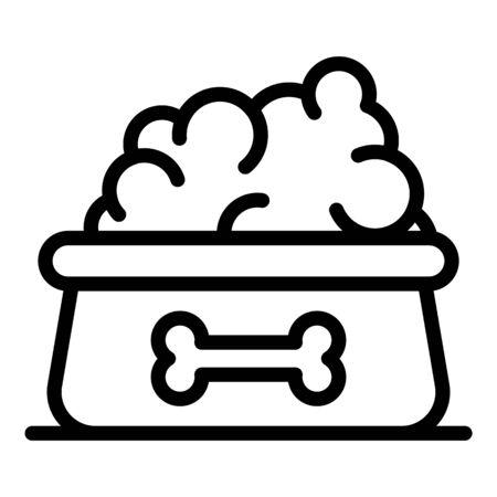 Dog food bowl icon, outline style Ilustração