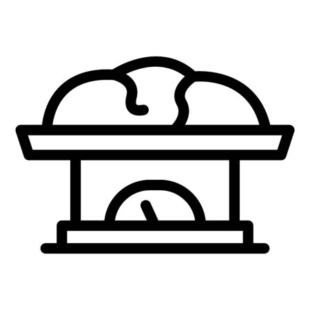 Meat on scales icon, outline style