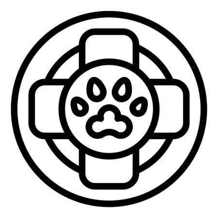 Dog medical help icon, outline style Illustration
