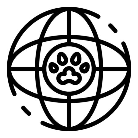 Global dog handler icon, outline style Vectores