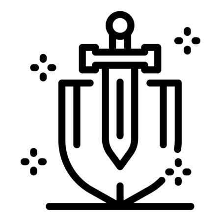 Guard shield sword icon, outline style Vektoros illusztráció