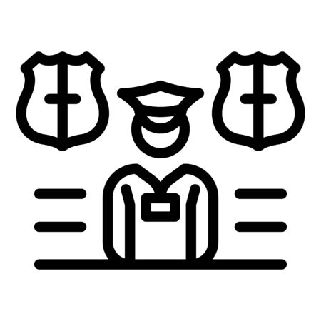 Police personal guard icon, outline style Çizim