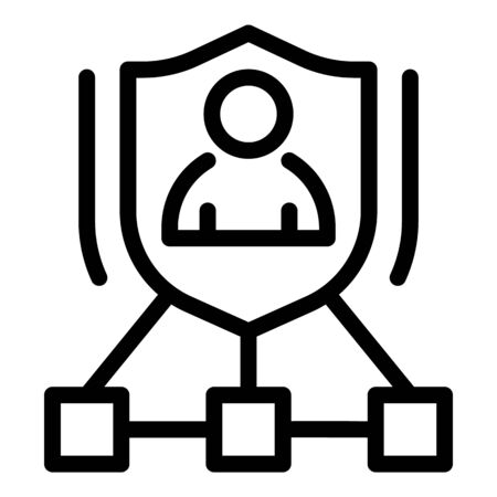 Personal guard scheme icon, outline style Иллюстрация