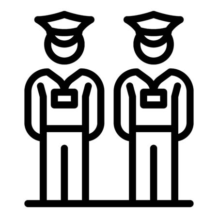 Security guard icon, outline style Vettoriali