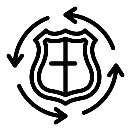 All hours guard icon, outline style Stock Illustratie