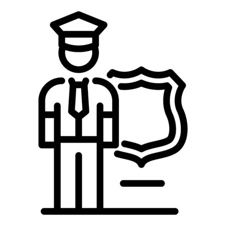 Policeman guard icon, outline style