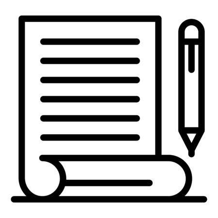 Judgment pen paper icon, outline style